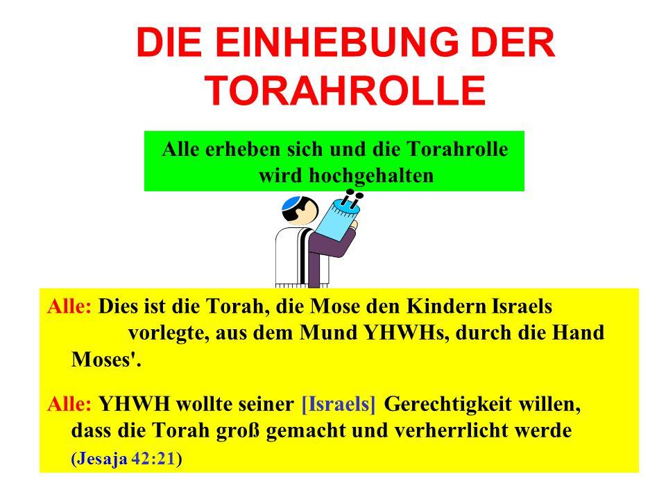 DIE EINHEBUNG DER TORAHROLLE Alle: Dies ist die Torah, die Mose den Kindern Israels vorlegte, aus dem Mund YHWHs, durch die Hand Moses'. Alle: YHWH wo