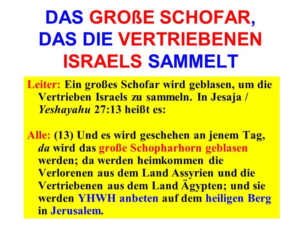 DAS GROßE SCHOFAR, DAS DIE VERTRIEBENEN ISRAELS SAMMELT Leiter: Ein großes Schofar wird geblasen, um die Vertrieben Israels zu sammeln. In Jesaja / Ye