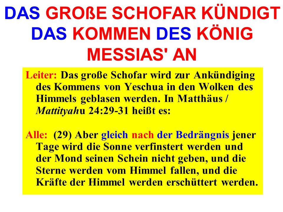 Leiter: Das große Schofar wird zur Ankündiging des Kommens von Yeschua in den Wolken des Himmels geblasen werden. In Matthäus / Mattityahu 24:29-31 he