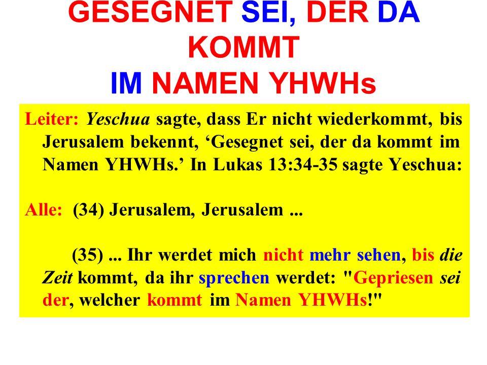 GESEGNET SEI, DER DA KOMMT IM NAMEN YHWHs Leiter: Yeschua sagte, dass Er nicht wiederkommt, bis Jerusalem bekennt, Gesegnet sei, der da kommt im Namen