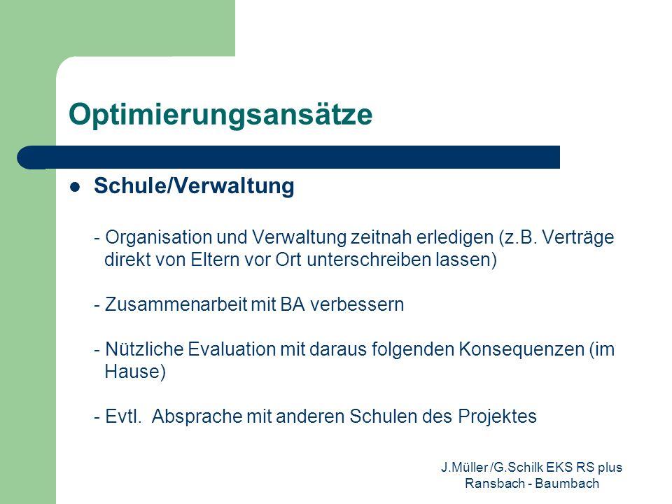 Optimierungsansätze Unterricht - Bewerbungscoaching von außerschulischen Experten - Im NU nur praxisorientierter Unterricht - gezieltere Einweisung in die Praktika J.Müller /G.Schilk EKS RS plus Ransbach - Baumbach
