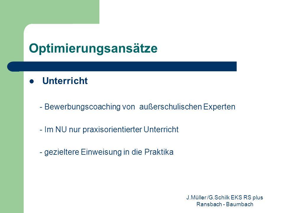 Optimierungsansätze Unterricht - Bewerbungscoaching von außerschulischen Experten - Im NU nur praxisorientierter Unterricht - gezieltere Einweisung in