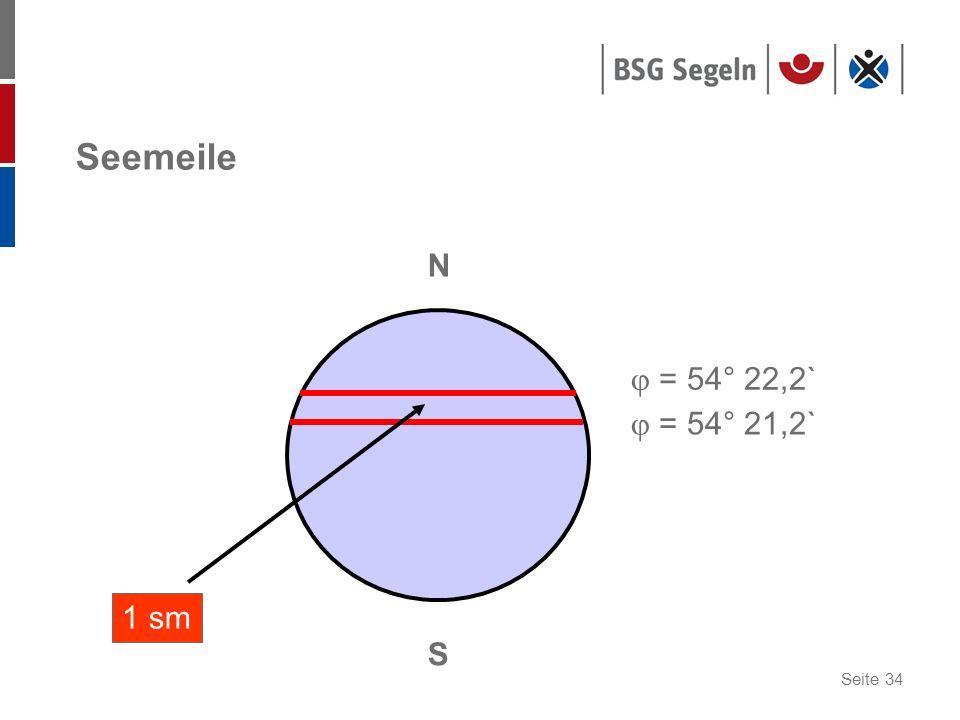 Seite 34 Seemeile N S = 54° 21,2` = 54° 22,2` 1 sm