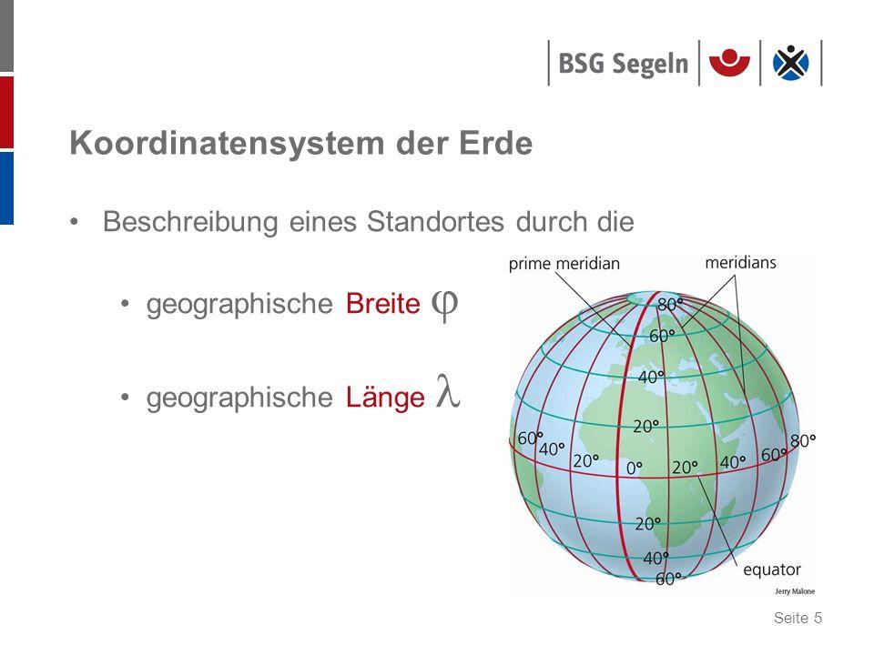 Seite 36 Umrechnung von sm in km Erdumfang: 40.000 km hierin enthalten sind 360° 1 Minute = 1 Seemeile 360° = 21.600 Minuten 40.000 km : 21.600 = 1,852 km