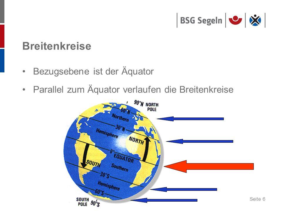 Seite 6 Breitenkreise Bezugsebene ist der Äquator Parallel zum Äquator verlaufen die Breitenkreise