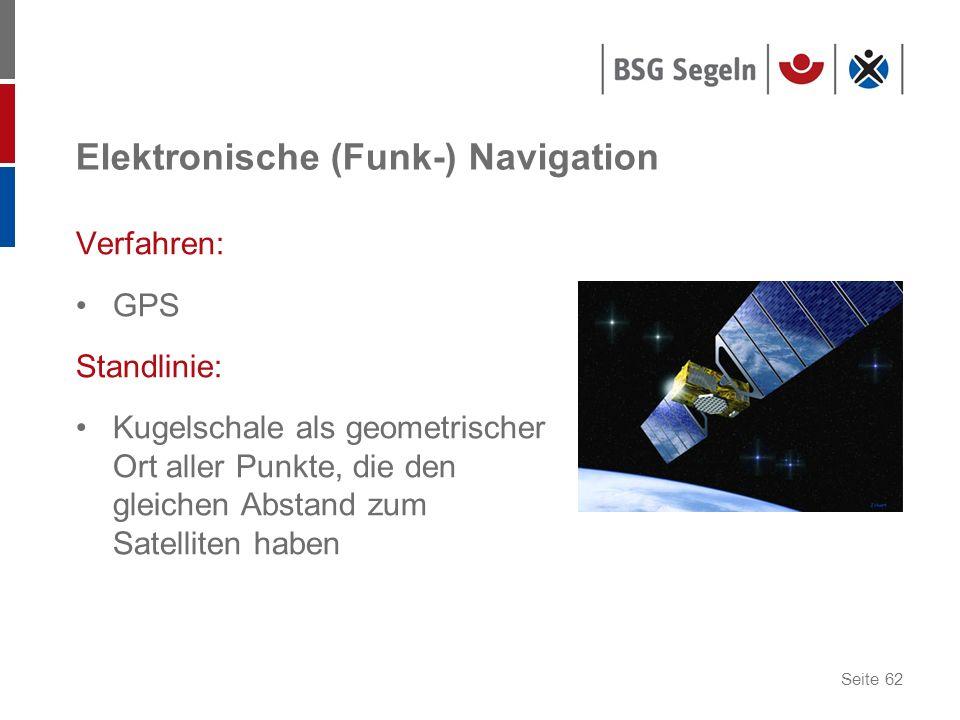 Seite 62 Elektronische (Funk-) Navigation Verfahren: GPS Standlinie: Kugelschale als geometrischer Ort aller Punkte, die den gleichen Abstand zum Sate