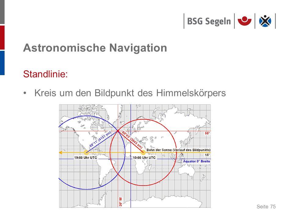 Seite 75 Astronomische Navigation Standlinie: Kreis um den Bildpunkt des Himmelskörpers