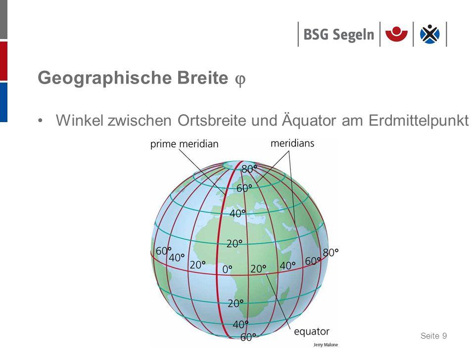 Seite 9 Geographische Breite Winkel zwischen Ortsbreite und Äquator am Erdmittelpunkt