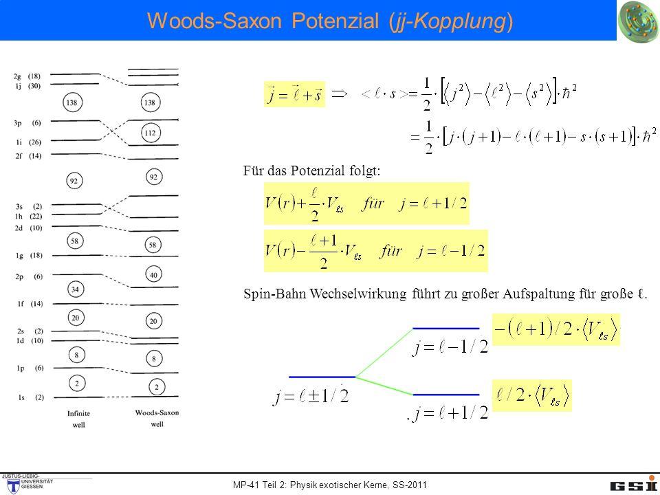 MP-41 Teil 2: Physik exotischer Kerne, SS-2011 Woods-Saxon Potenzial (jj-Kopplung) Für das Potenzial folgt: Spin-Bahn Wechselwirkung führt zu großer A