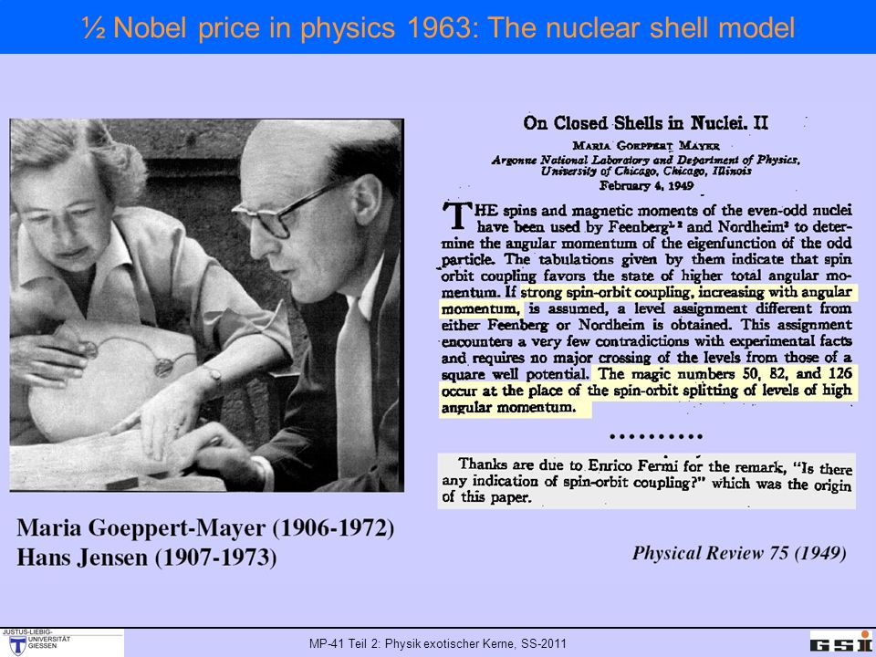 MP-41 Teil 2: Physik exotischer Kerne, SS-2011 ½ Nobel price in physics 1963: The nuclear shell model