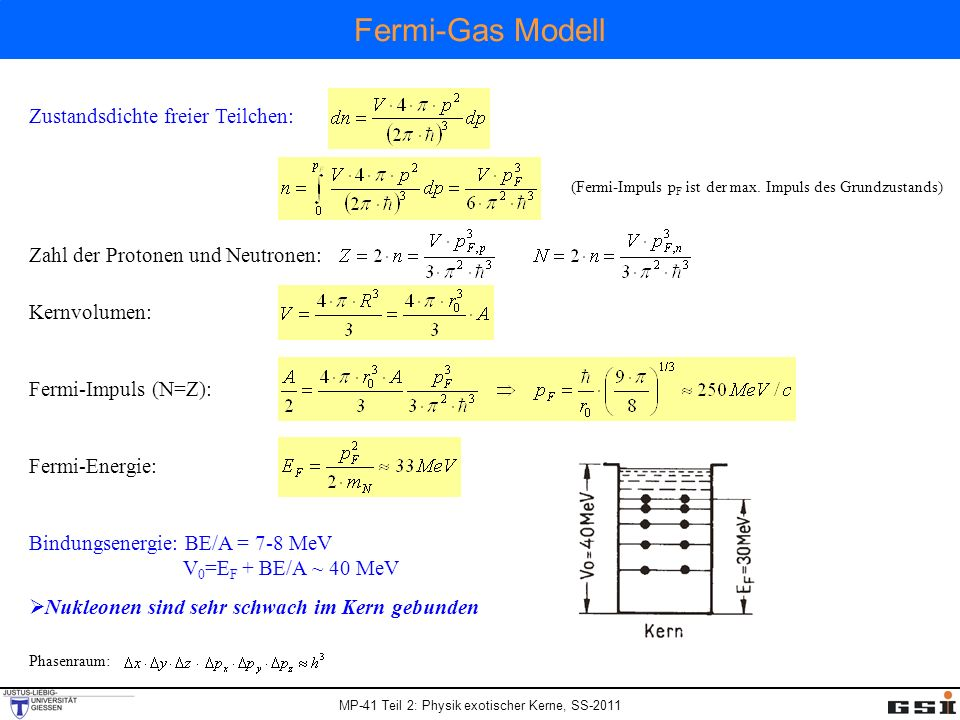 MP-41 Teil 2: Physik exotischer Kerne, SS-2011 Fermi-Gas Modell Zustandsdichte freier Teilchen: Phasenraum: (Fermi-Impuls p F ist der max. Impuls des