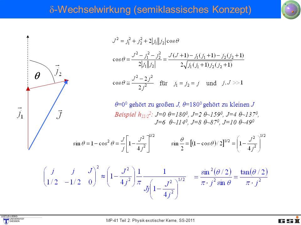 MP-41 Teil 2: Physik exotischer Kerne, SS-2011 δ -Wechselwirkung (semiklassisches Konzept) fürund θ=0 0 gehört zu großen J, θ=180 0 gehört zu kleinen