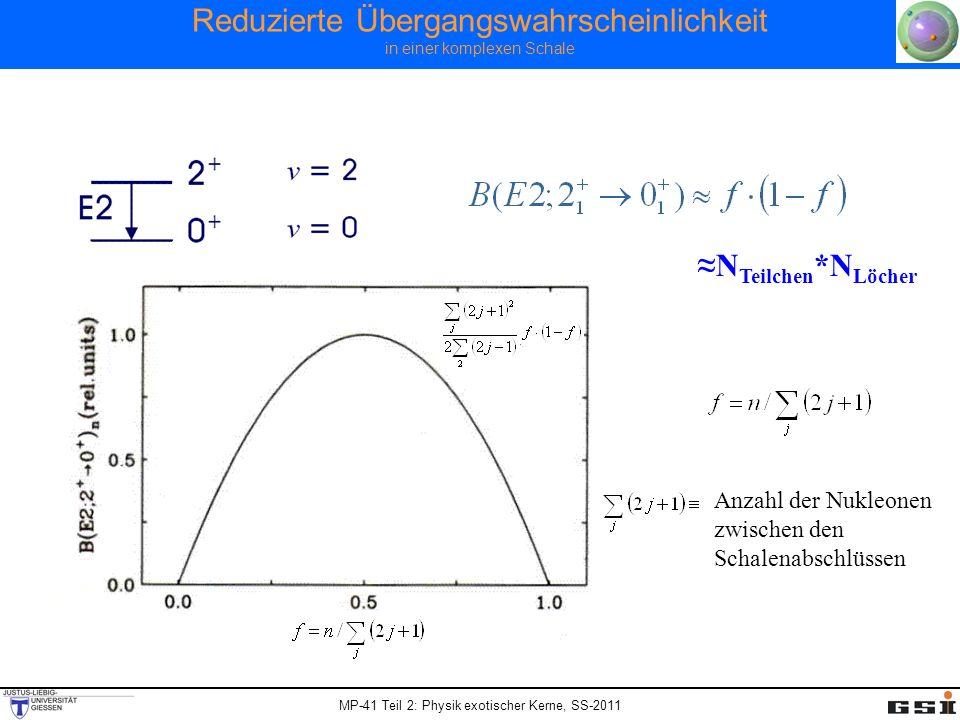 MP-41 Teil 2: Physik exotischer Kerne, SS-2011 Reduzierte Übergangswahrscheinlichkeit in einer komplexen Schale N Teilchen *N Löcher Anzahl der Nukleo