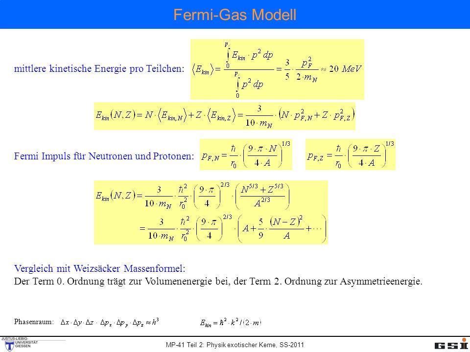 MP-41 Teil 2: Physik exotischer Kerne, SS-2011 Fermi-Gas Modell mittlere kinetische Energie pro Teilchen: Fermi Impuls für Neutronen und Protonen: Ver