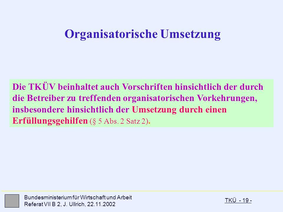 TKÜ - 19 - Bundesministerium für Wirtschaft und Arbeit Referat VII B 2, J. Ullrich, 22.11.2002 Organisatorische Umsetzung Die TKÜV beinhaltet auch Vor