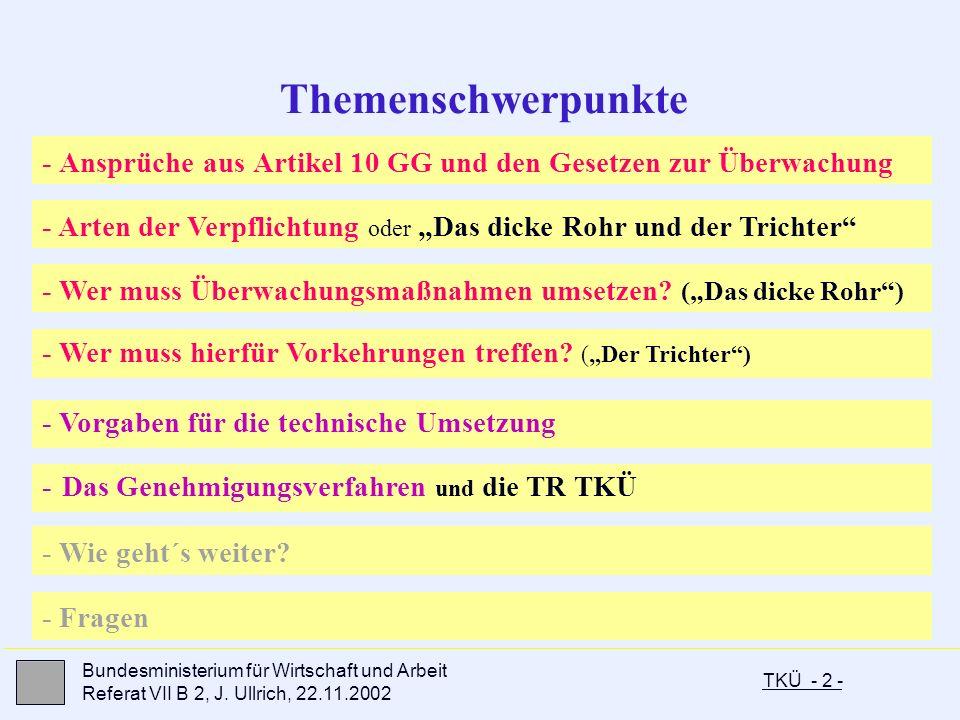 TKÜ - 2 - Bundesministerium für Wirtschaft und Arbeit Referat VII B 2, J. Ullrich, 22.11.2002 - Ansprüche aus Artikel 10 GG und den Gesetzen zur Überw