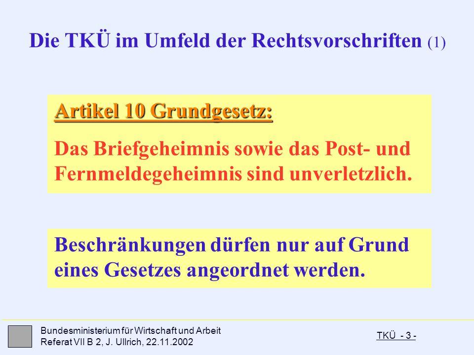 TKÜ - 3 - Bundesministerium für Wirtschaft und Arbeit Referat VII B 2, J. Ullrich, 22.11.2002 Artikel 10 Grundgesetz: Das Briefgeheimnis sowie das Pos
