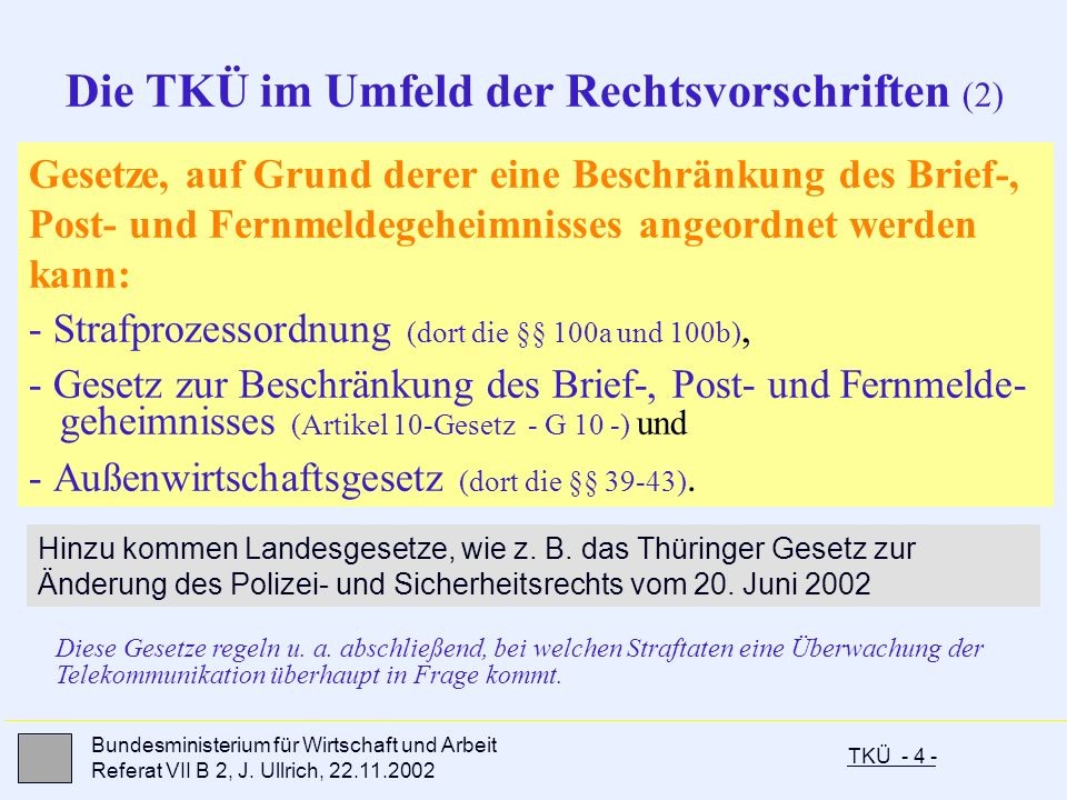 TKÜ - 4 - Bundesministerium für Wirtschaft und Arbeit Referat VII B 2, J. Ullrich, 22.11.2002 Gesetze, auf Grund derer eine Beschränkung des Brief-, P