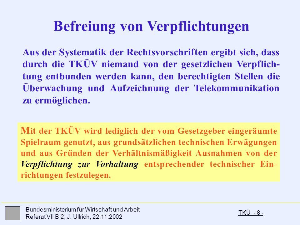 TKÜ - 8 - Bundesministerium für Wirtschaft und Arbeit Referat VII B 2, J. Ullrich, 22.11.2002 Befreiung von Verpflichtungen Aus der Systematik der Rec