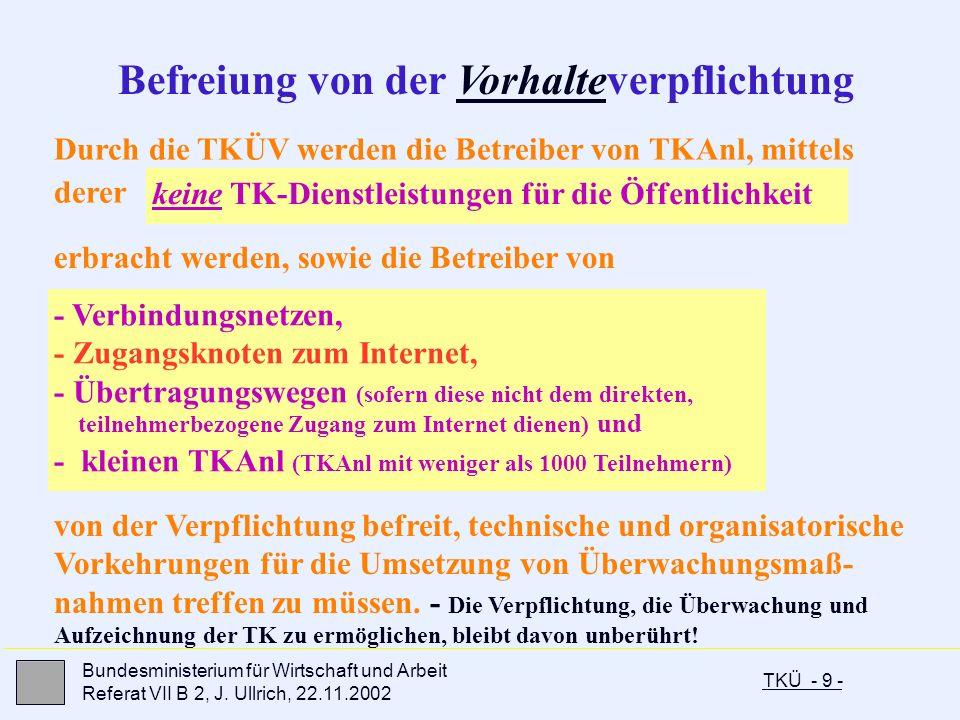 TKÜ - 9 - Bundesministerium für Wirtschaft und Arbeit Referat VII B 2, J. Ullrich, 22.11.2002 - Verbindungsnetzen, - Zugangsknoten zum Internet, - Übe
