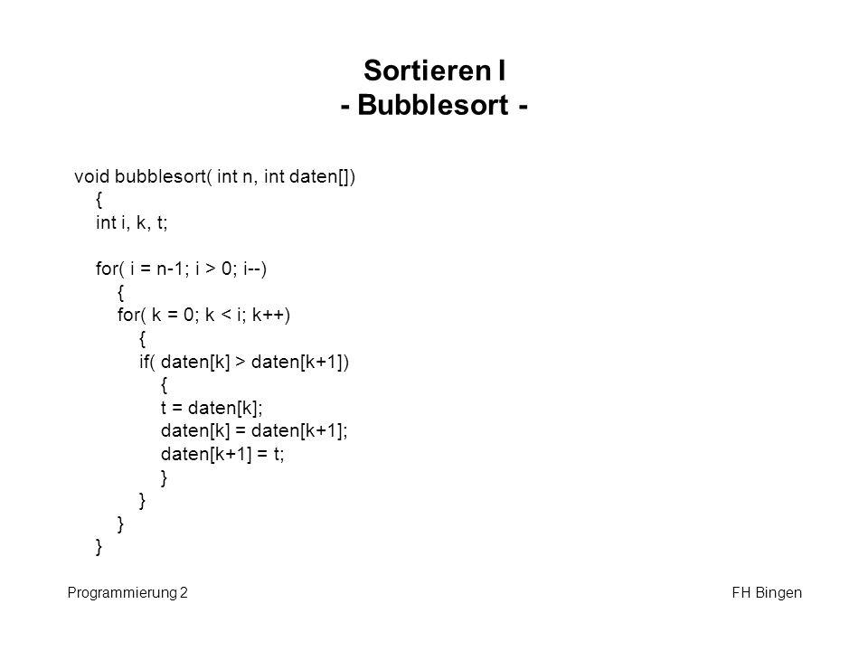Sortieren II - Selectionsort - Programmierung 2 FH Bingen void selectionsort( int n, int daten[]) { int i, k, t, min; for( i = 0; i < n-1; i++) { min = i; for( k = i+1; k < n; k++) { if( daten[k] < daten[min]) min = k; } t = daten[min]; daten[min] = daten[i]; daten[i] = t; }