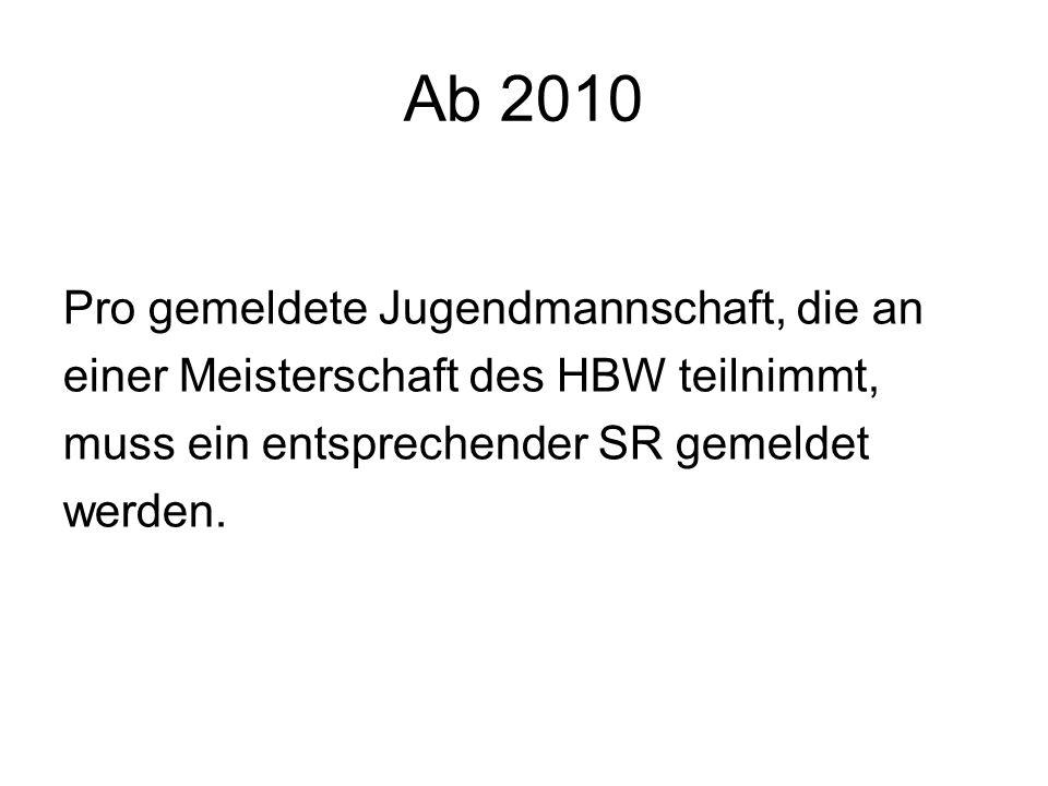 Ab 2010 Pro gemeldete Jugendmannschaft, die an einer Meisterschaft des HBW teilnimmt, muss ein entsprechender SR gemeldet werden.