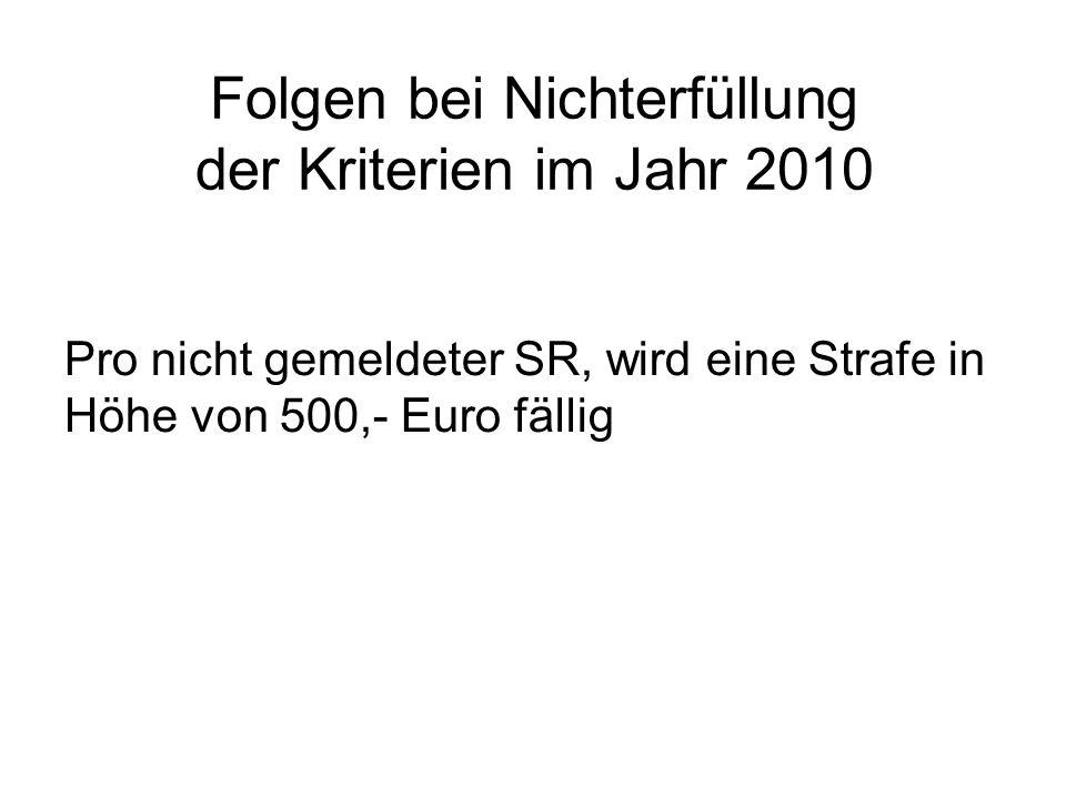 Folgen bei Nichterfüllung der Kriterien im Jahr 2010 Pro nicht gemeldeter SR, wird eine Strafe in Höhe von 500,- Euro fällig