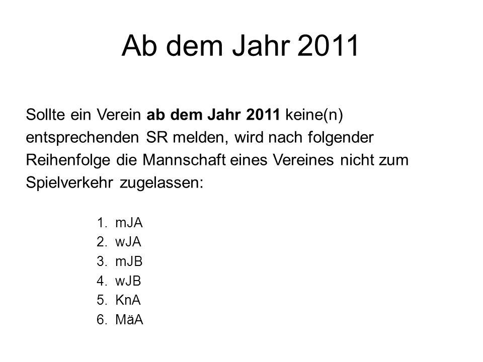 Ab dem Jahr 2011 Sollte ein Verein ab dem Jahr 2011 keine(n) entsprechenden SR melden, wird nach folgender Reihenfolge die Mannschaft eines Vereines n