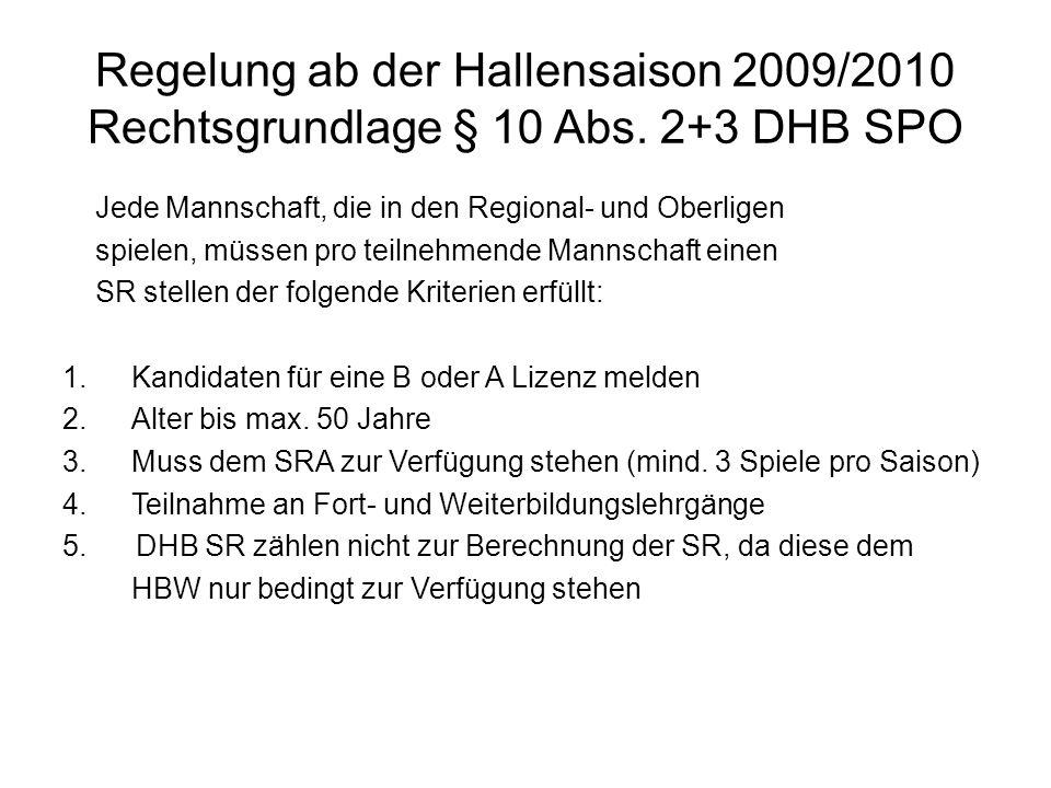Regelung ab der Hallensaison 2009/2010 Rechtsgrundlage § 10 Abs. 2+3 DHB SPO Jede Mannschaft, die in den Regional- und Oberligen spielen, müssen pro t