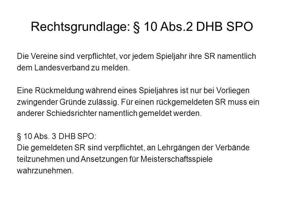 Rechtsgrundlage: § 10 Abs.2 DHB SPO Die Vereine sind verpflichtet, vor jedem Spieljahr ihre SR namentlich dem Landesverband zu melden. Eine Rückmeldun