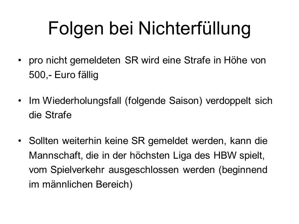 Folgen bei Nichterfüllung pro nicht gemeldeten SR wird eine Strafe in Höhe von 500,- Euro fällig Im Wiederholungsfall (folgende Saison) verdoppelt sic