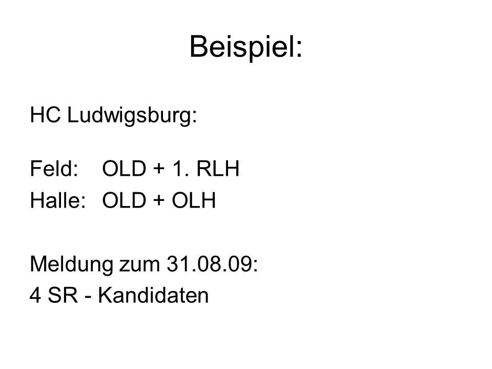 Beispiel: HC Ludwigsburg: Feld:OLD + 1. RLH Halle:OLD + OLH Meldung zum 31.08.09: 4 SR - Kandidaten