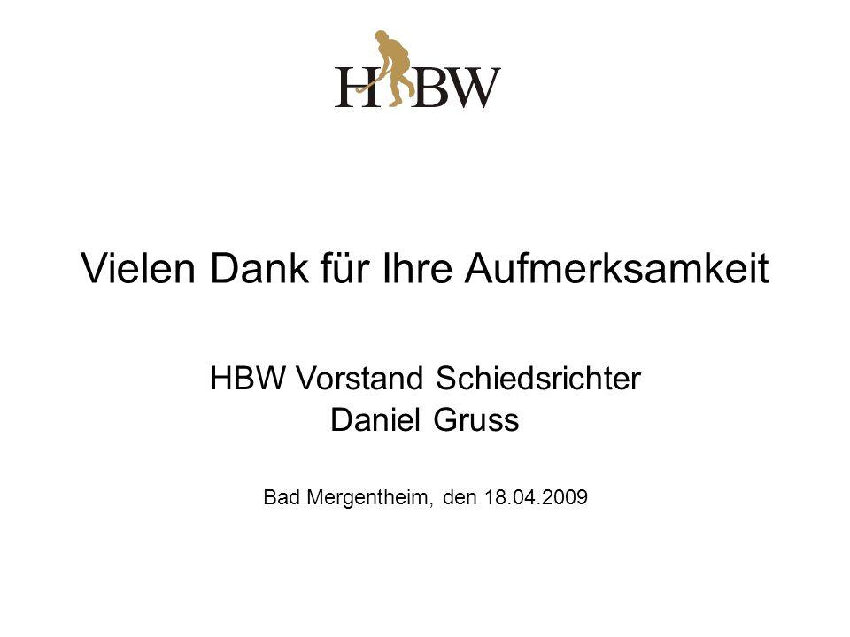 Vielen Dank für Ihre Aufmerksamkeit HBW Vorstand Schiedsrichter Daniel Gruss Bad Mergentheim, den 18.04.2009