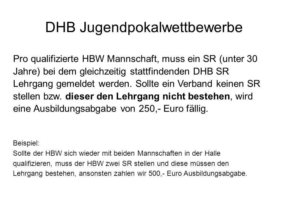 DHB Jugendpokalwettbewerbe Pro qualifizierte HBW Mannschaft, muss ein SR (unter 30 Jahre) bei dem gleichzeitig stattfindenden DHB SR Lehrgang gemeldet werden.