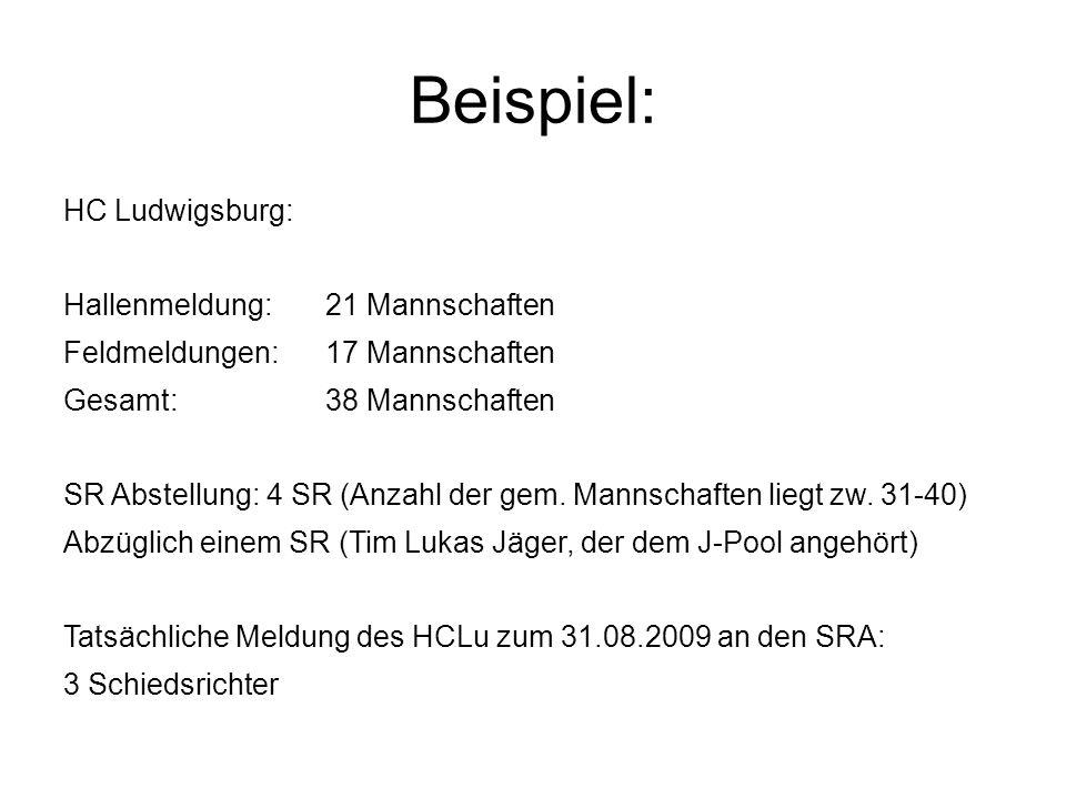 Beispiel: HC Ludwigsburg: Hallenmeldung:21 Mannschaften Feldmeldungen:17 Mannschaften Gesamt:38 Mannschaften SR Abstellung: 4 SR (Anzahl der gem. Mann