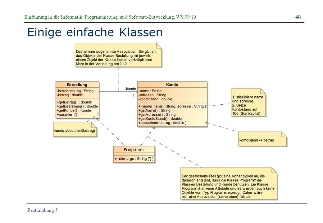 Einführung in die Informatik: Programmierung und Software-Entwicklung, WS 09/10 Zentralübung 5 Einige einfache Klassen 48