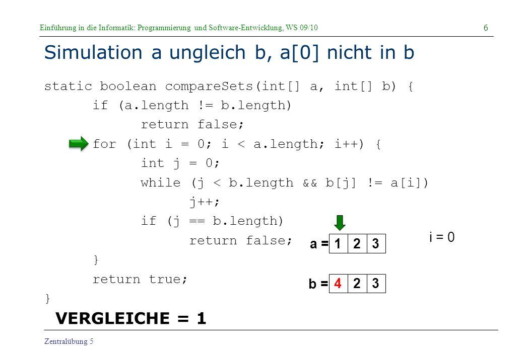 Einführung in die Informatik: Programmierung und Software-Entwicklung, WS 09/10 Zentralübung 5 Simulation a gleich b static boolean compareSets(int[] a, int[] b) { if (a.length != b.length) return false; for (int i = 0; i < a.length; i++) { int j = 0; while (j < b.length && b[j] != a[i]) j++; if (j == b.length) return false; } return true; } 37 a = b = i = 2 j = 2 true 123123 VERGLEICHE = 16 false 2 Durchläufe der WHILE-Schleife für i == 2 Aber: 6 Vergleiche