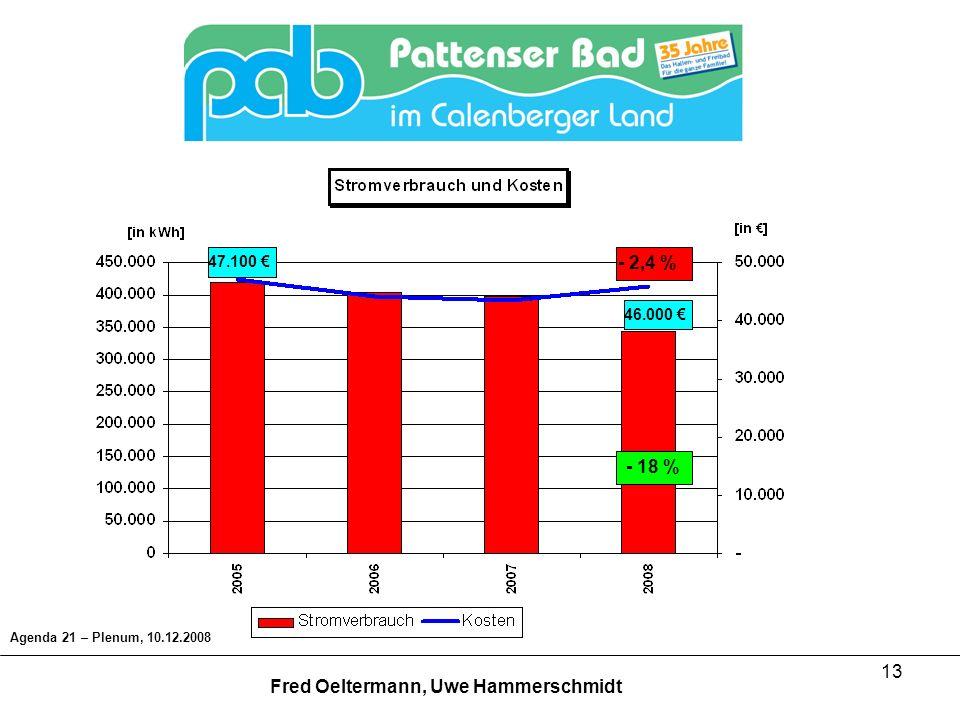 13 47.100 46.000 Agenda 21 – Plenum, 10.12.2008 Fred Oeltermann, Uwe Hammerschmidt - 18 % - 2,4 %