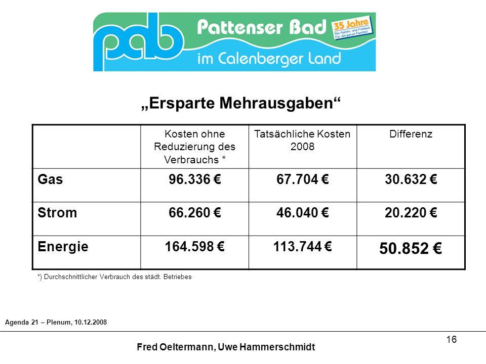 16 Agenda 21 – Plenum, 10.12.2008 Fred Oeltermann, Uwe Hammerschmidt Kosten ohne Reduzierung des Verbrauchs * Tatsächliche Kosten 2008 Differenz Gas96