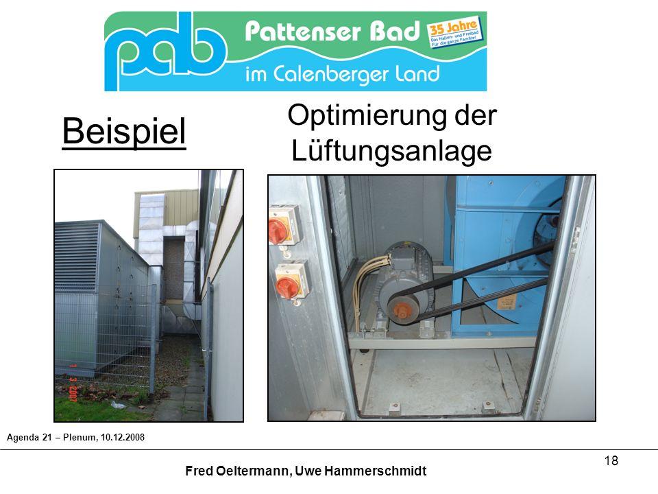 18 Agenda 21 – Plenum, 10.12.2008 Fred Oeltermann, Uwe Hammerschmidt Beispiel Optimierung der Lüftungsanlage