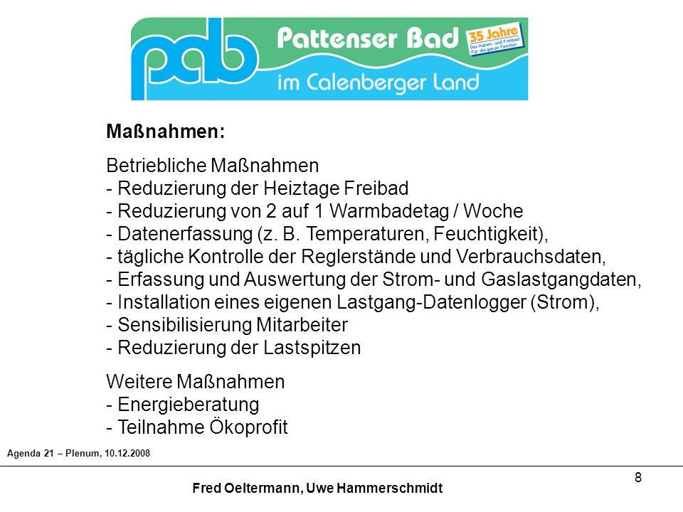 19 Agenda 21 – Plenum, 10.12.2008 Fred Oeltermann, Uwe Hammerschmidt Umbau Lüftungsanlage Investitionen: 60 Arbeitsstunden (ehrenamtlich) 150 Materialkosten Einsparung: ca.