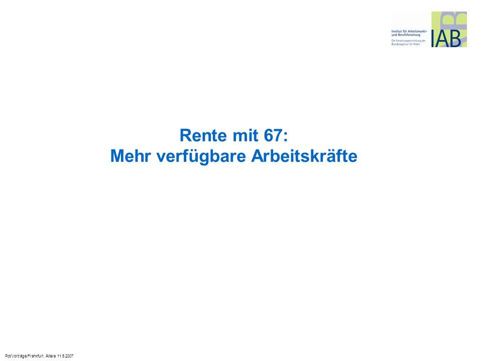 Ppt/Vorträge/Frankfurt Ältere 11.5.2007 Rente mit 67: Mehr verfügbare Arbeitskräfte