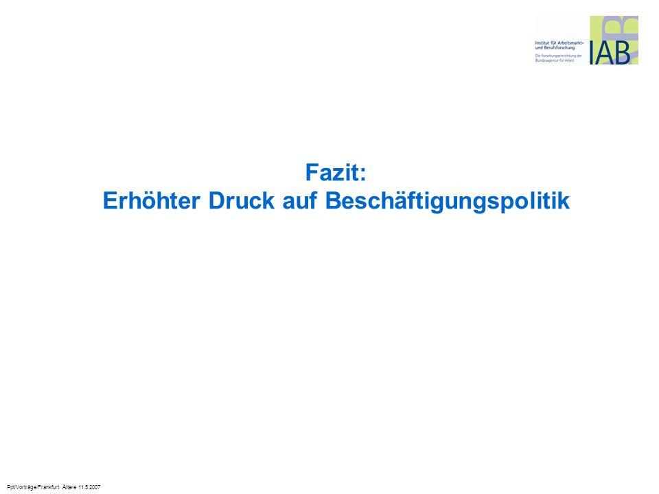 Ppt/Vorträge/Frankfurt Ältere 11.5.2007 Fazit: Erhöhter Druck auf Beschäftigungspolitik