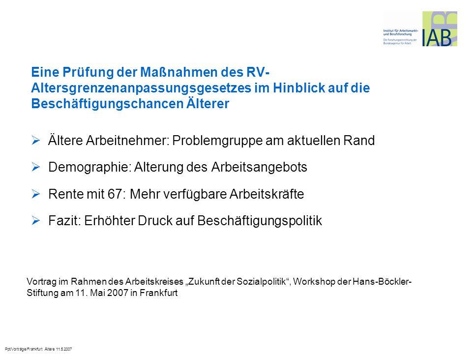 Ppt/Vorträge/Frankfurt Ältere 11.5.2007 Ältere Arbeitnehmer: Problemgruppe am aktuellen Rand Demographie: Alterung des Arbeitsangebots Rente mit 67: M