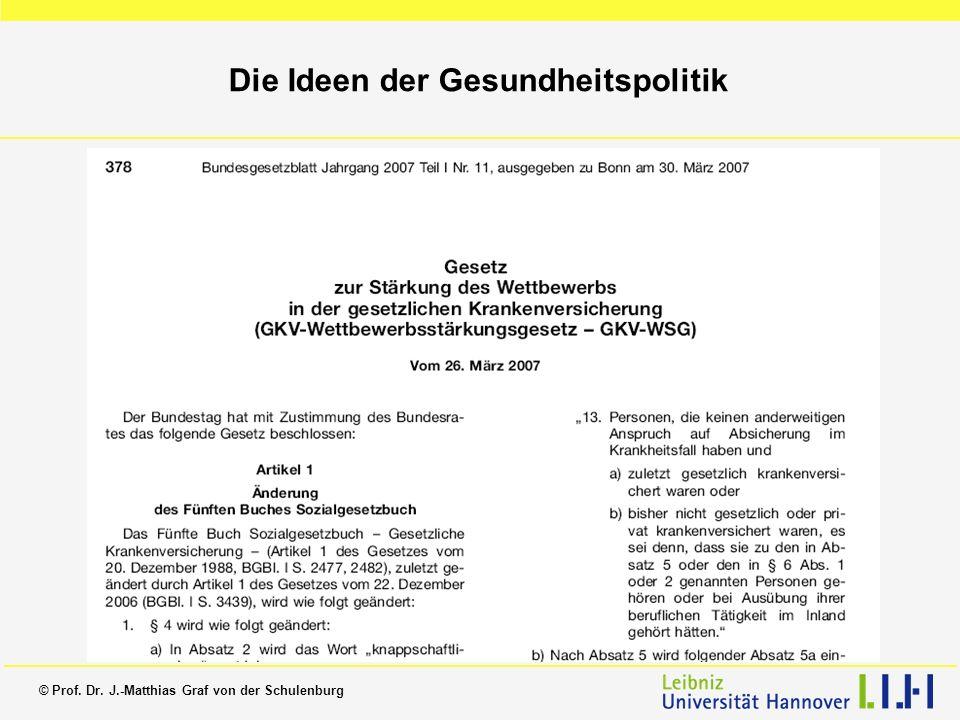 © Prof. Dr. J.-Matthias Graf von der Schulenburg Die Ideen der Gesundheitspolitik