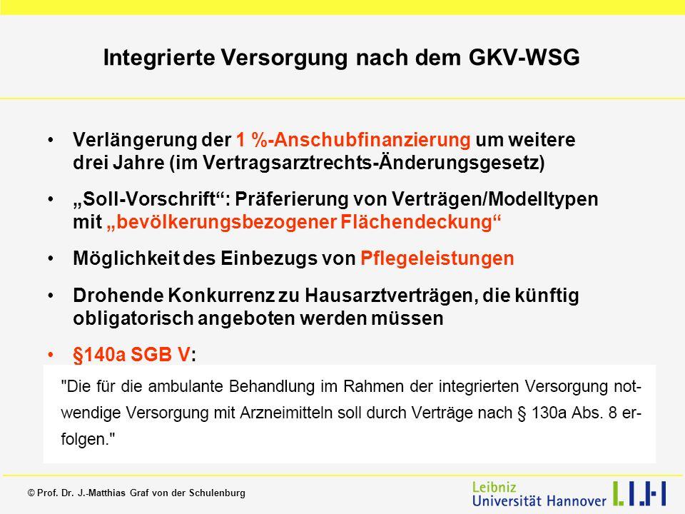 © Prof. Dr. J.-Matthias Graf von der Schulenburg Integrierte Versorgung nach dem GKV-WSG Verlängerung der 1 %-Anschubfinanzierung um weitere drei Jahr