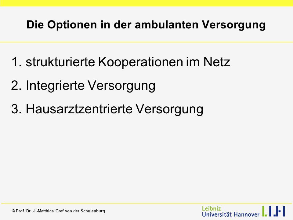 © Prof. Dr. J.-Matthias Graf von der Schulenburg Die Optionen in der ambulanten Versorgung 1.strukturierte Kooperationen im Netz 2.Integrierte Versorg