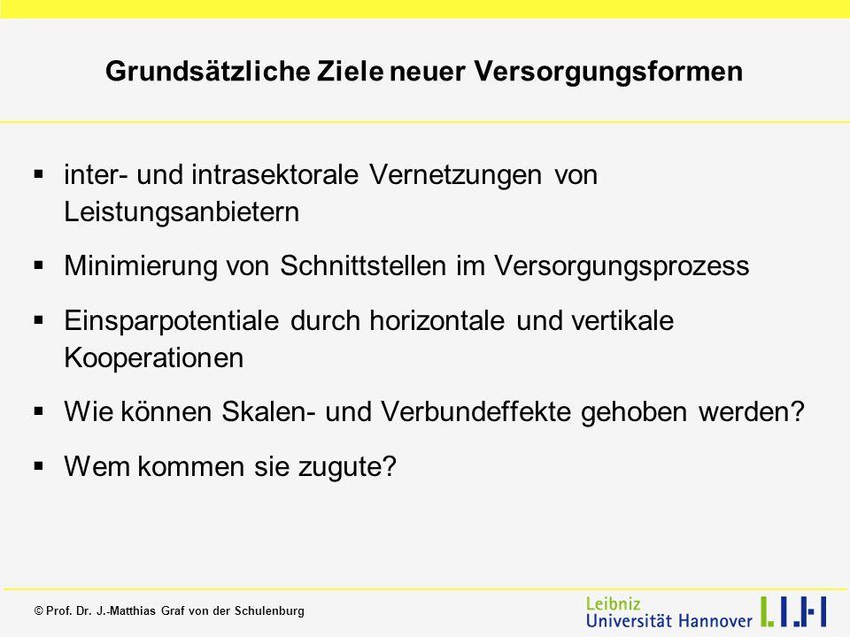 © Prof. Dr. J.-Matthias Graf von der Schulenburg Grundsätzliche Ziele neuer Versorgungsformen inter- und intrasektorale Vernetzungen von Leistungsanbi