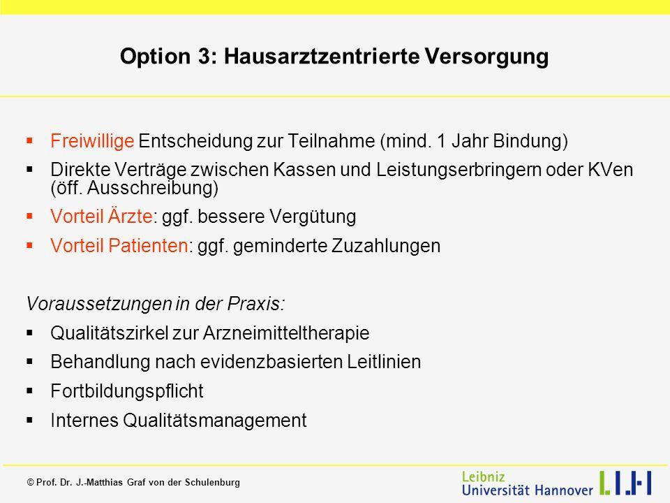 © Prof. Dr. J.-Matthias Graf von der Schulenburg Option 3: Hausarztzentrierte Versorgung Freiwillige Entscheidung zur Teilnahme (mind. 1 Jahr Bindung)