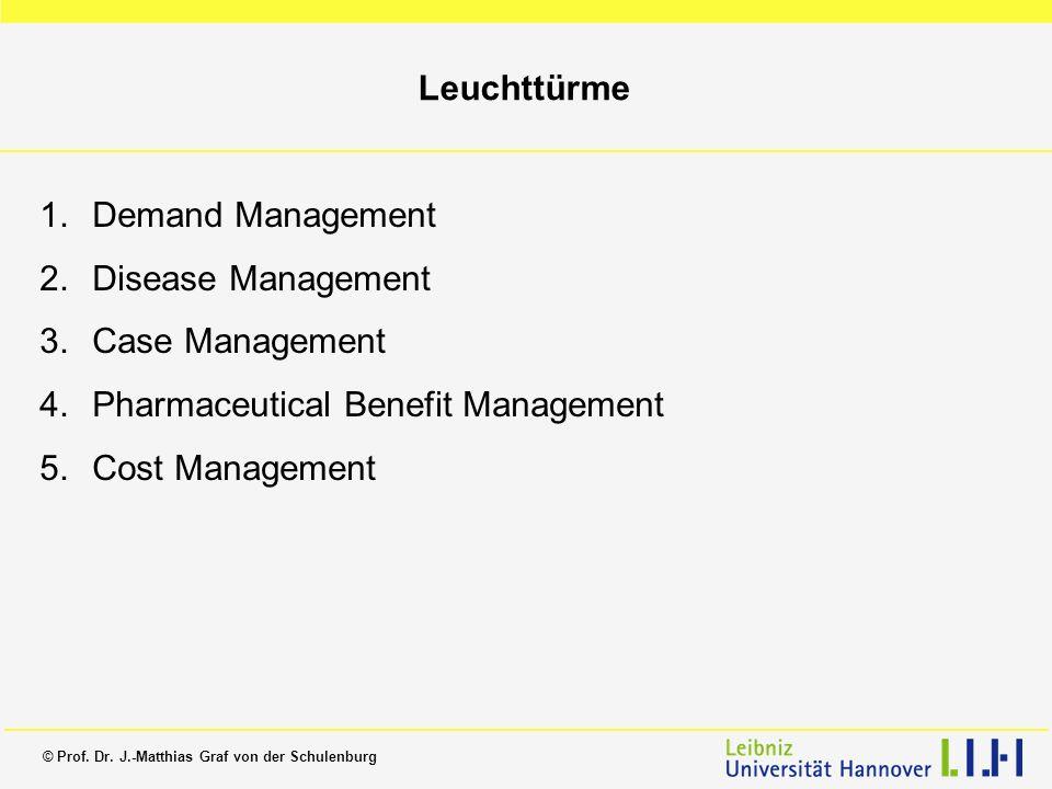 © Prof. Dr. J.-Matthias Graf von der Schulenburg Leuchttürme 1.Demand Management 2.Disease Management 3.Case Management 4.Pharmaceutical Benefit Manag